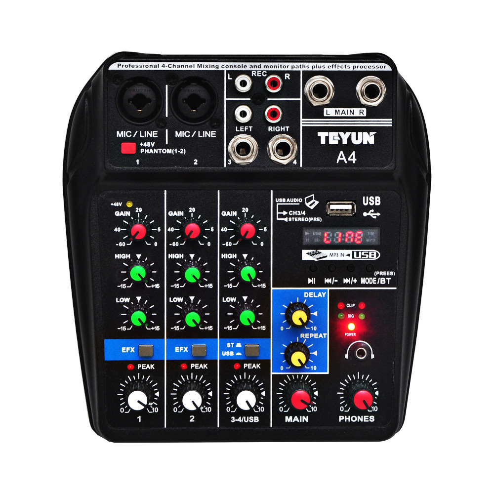 A4 mezcla de sonido de la consola USB Bluetooth computadora de registro de alimentación Phantom de 48 V demora Repaeat Efecto 4 canales de Audio USB mezclador