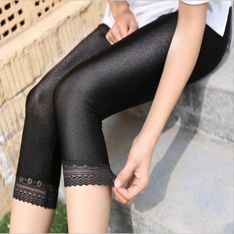 Women Calf-Length Pants Lace   Leggings   Slim Solid Female Shiny Pants Mujer Simple Casual Elasticity Trousers Large Size S-5XL