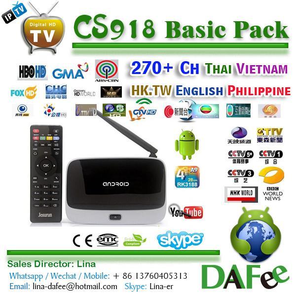 US $156 0 |Quad Core CS918 MK888 Android HD IPTV Box Chinese HK Taiwan Thai  Vietnam Popular 279 Channels One year Free TV Box DHL Free -in Set-top