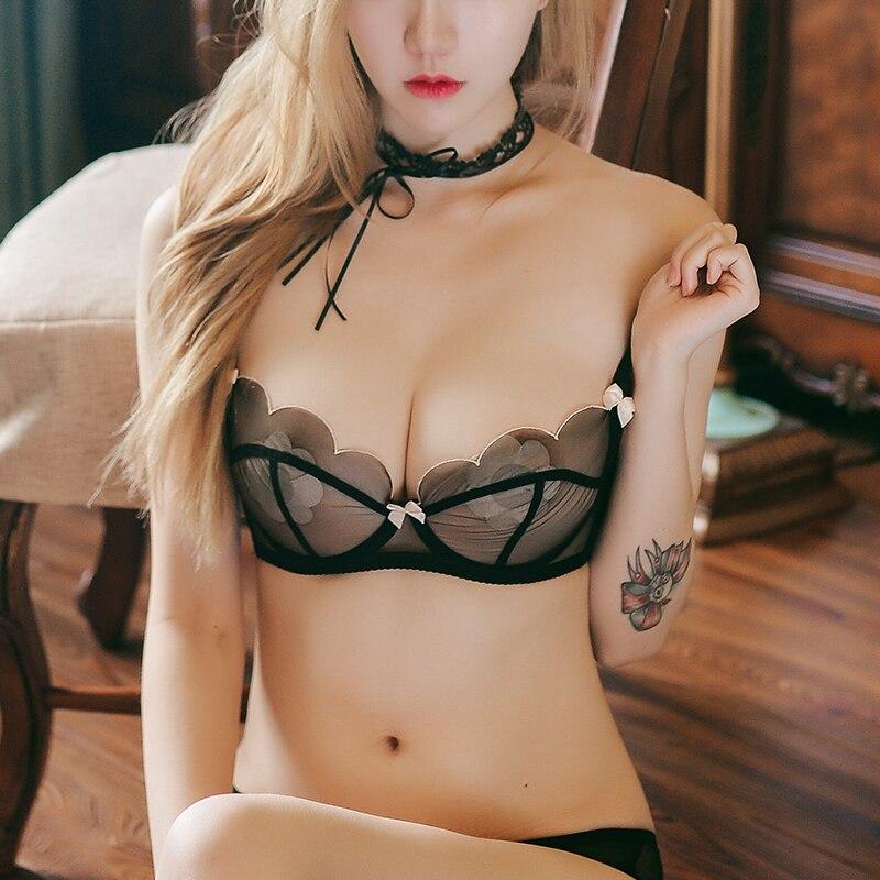 Shaonvmeiwu French slim cup temptation sexy lace gauze natal lingerie bra set bra no sponge comfortable breathable