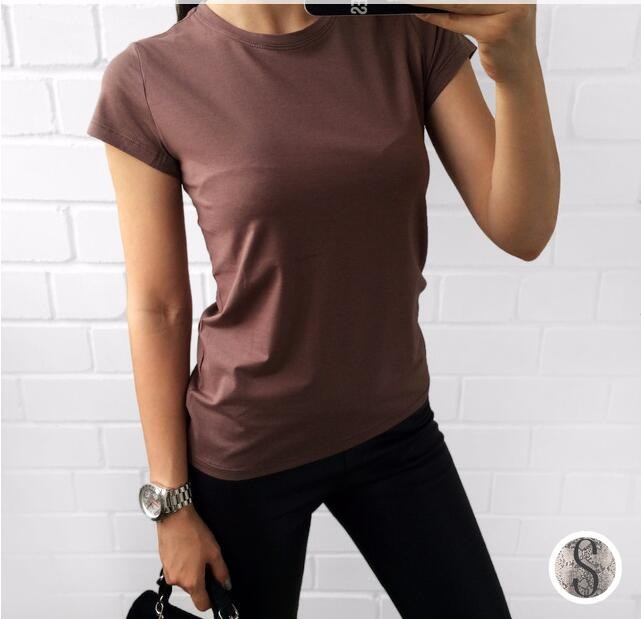 HTB1QXS4MVXXXXczXpXXq6xXFXXXA - High Quality Plain T Shirt Women Cotton Elastic Basic T-shirts