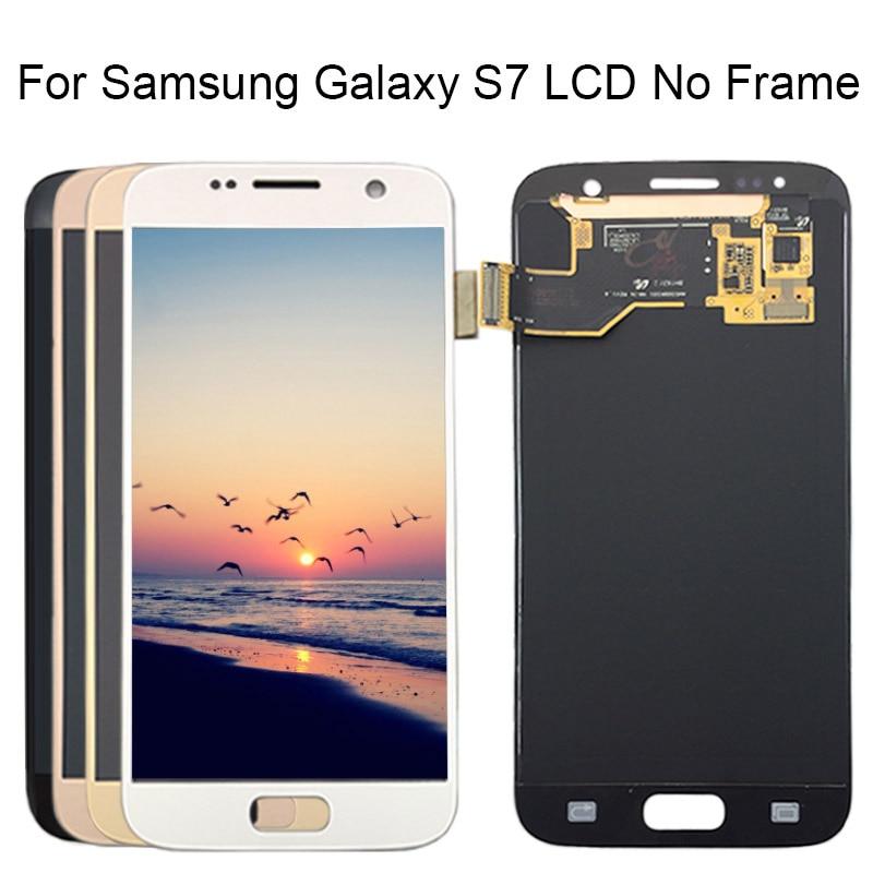 5.1 ''SUPER AMOLED remplacement LCD pas de cadre pour SAMSUNG Galaxy S7 affichage G930 G930F écran tactile numériseur