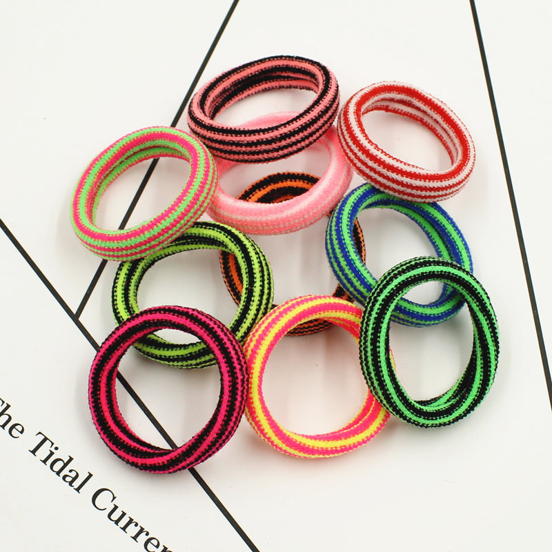 2017 New Fashion Kids Elastics Rubber Bands Striped Colored Hair Accessories Women Colorful Headband Girls Children Candy 10 PCS m mism new arrival korean style girls hair elastics big bow dot flora ponytail rubber hair rope hair accessories scrunchy women