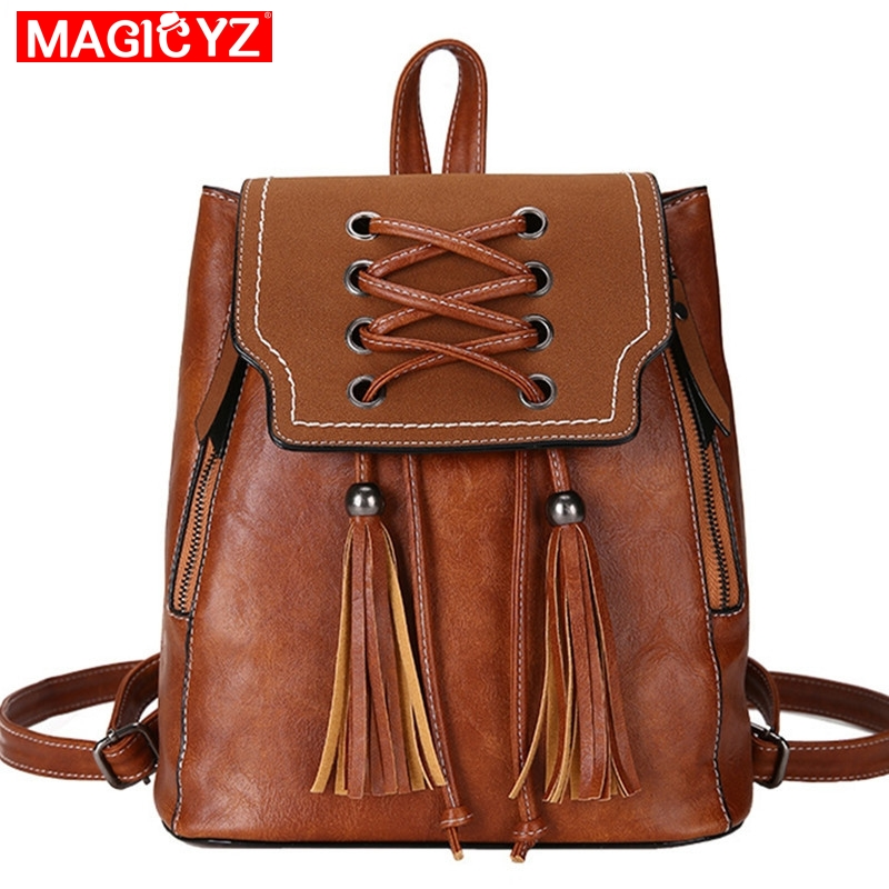 MAGICYZ Vintage Women Backpack Tassel Drawstring Backpack School Bags Small Female Bag Pack For Teenage Girls Shoulder BagsMAGICYZ Vintage Women Backpack Tassel Drawstring Backpack School Bags Small Female Bag Pack For Teenage Girls Shoulder Bags