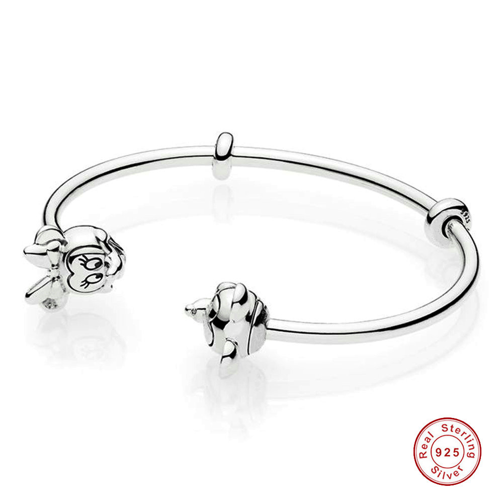 925 Sterling Silver Bangle Openwork Lace Of Love Open Pandora Bracelets Bangle Fit Women Bead Charm Europe Diy Jewelry