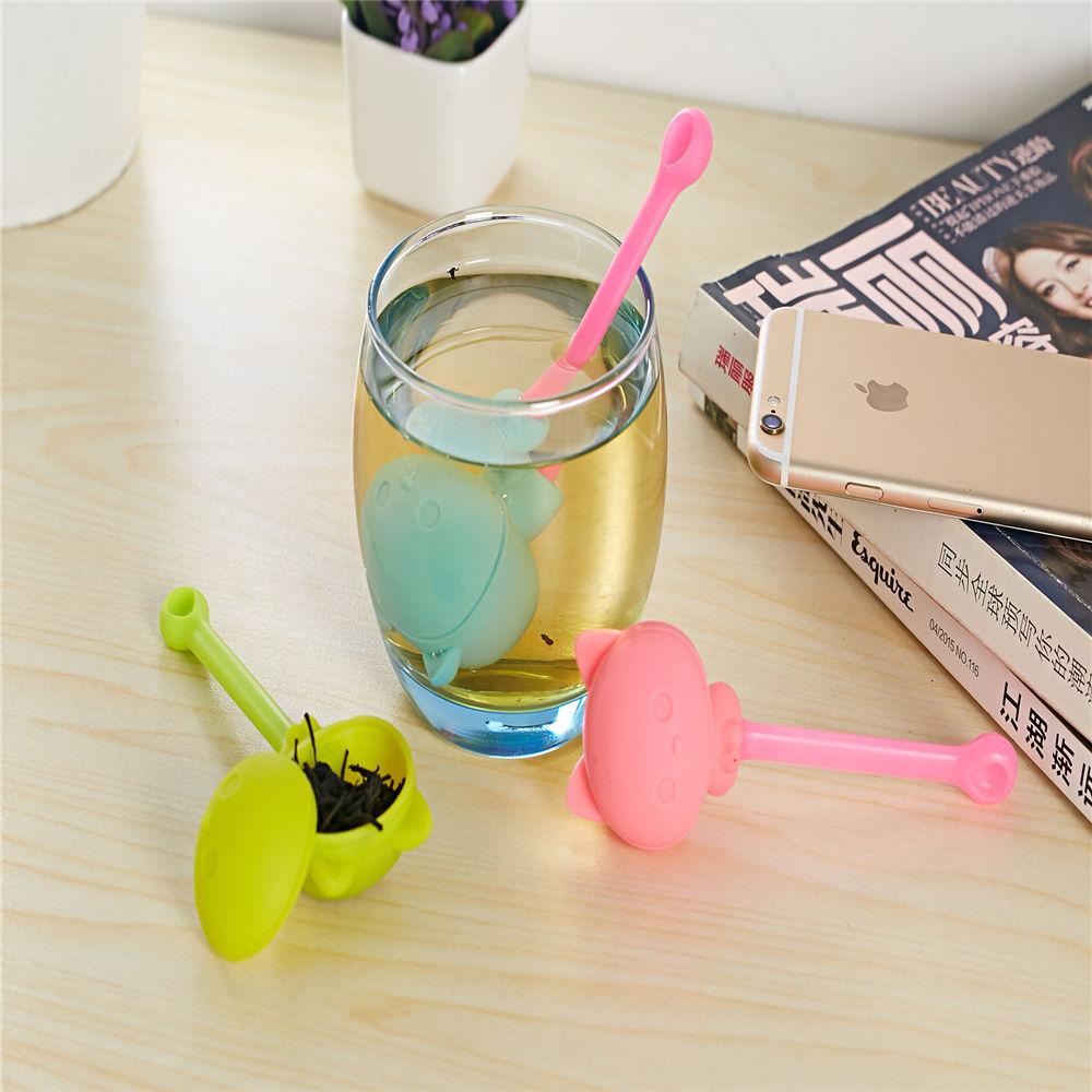 Kitchen Tea Accessories: Creative Cute Cat Tea Infuser Strainer Silicone Rubber