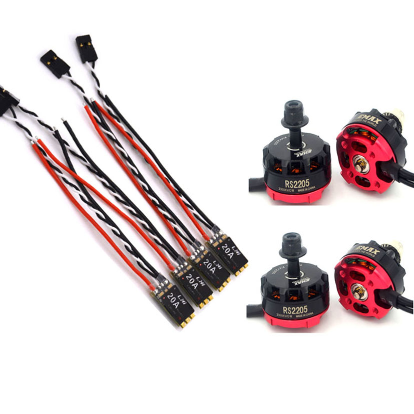 4x 2300KV RS2205 Racing Edition Motor + 4x LHI  Lite 20A Blheli_S Speed Controller  BB1 2-4S Brushless ESC for FPV Racer lhi 2205 s brushless motor 4 pcs racerstar rs20a lite 20a blheli s bb1 2 4s brushless esc racing for fpv quadcopter multicopter