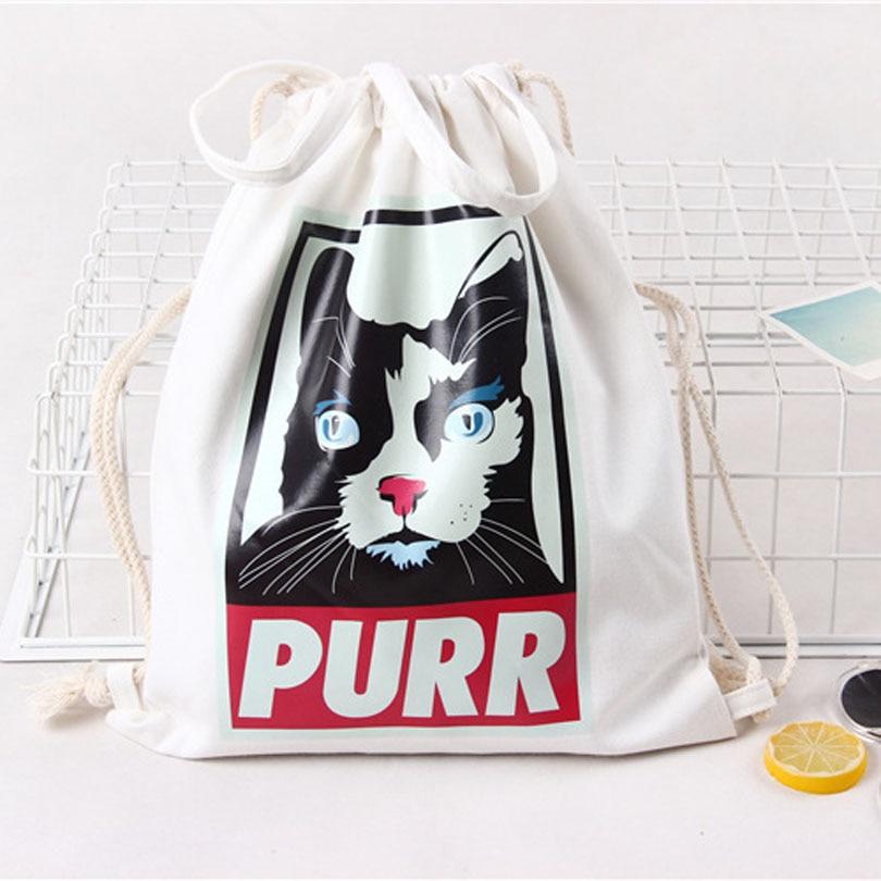 White Drawstring Bag Backpacks For Teenage Girls Fashion Women Cute Animal Print Rucksack Travel Softback String Pouch Sack Bags #3