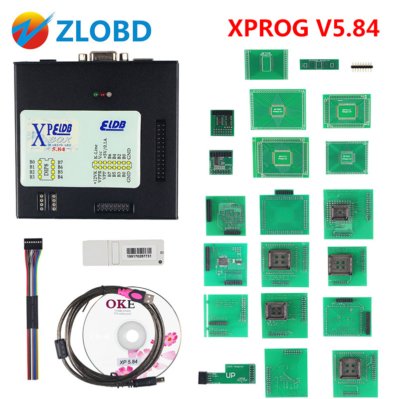 Newest XPROG V5 84 with USB Dongle ECU Programmer XPROG M V5 55 Full Adaptors X
