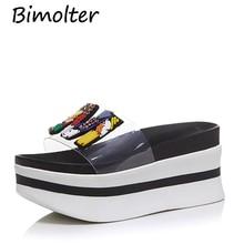 цены на Bimolter Women Transparent Clear PVC Platform Wedge Outdoor Slippers Girl String Bead High Heel Thick Sole Summer Slides PSEB014  в интернет-магазинах