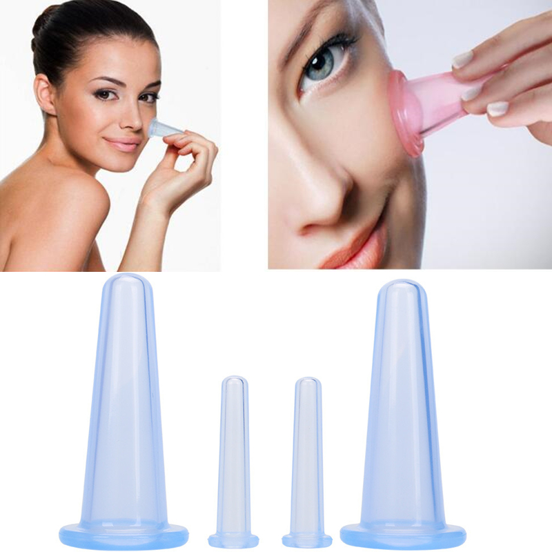 4PCS/Set Silicone Facial Massage Cups Vacuum Cupping Therapy Beauty Face Lifting Massager, 2 Face Cups + 2 Mini Eye Cups(China)