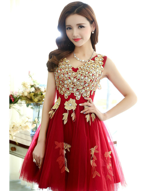 a8e2f58cf0049 New arrival peacock design short lady girl women princess bridesmaid  banquet party ball dress gown