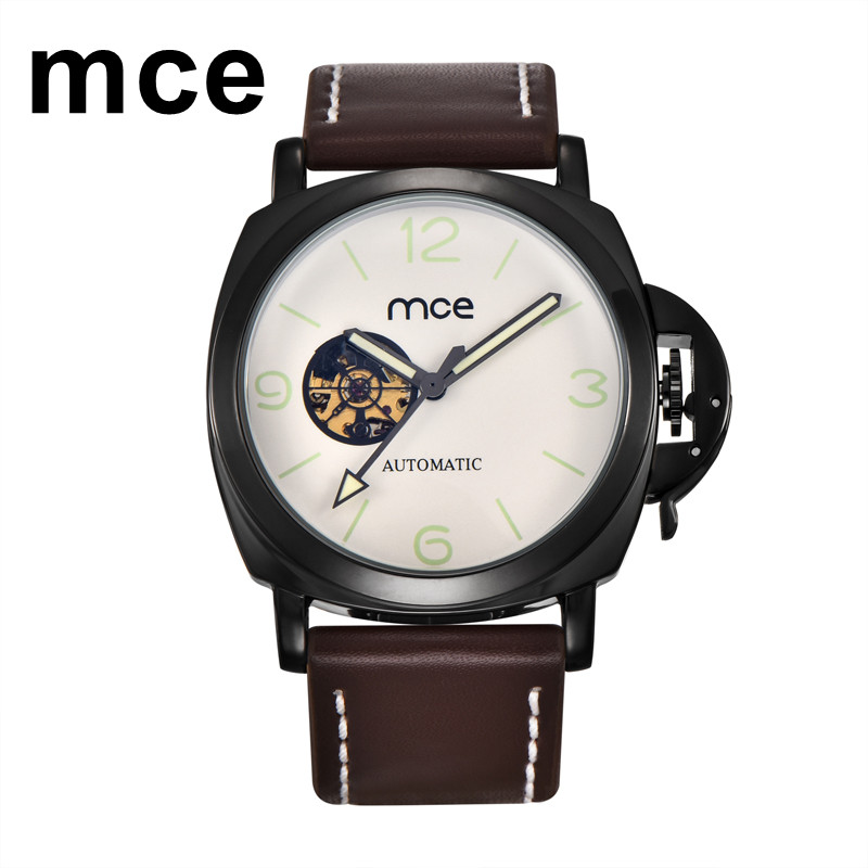 MCE Casual Watch Men Leather Strap Waterproof Mechanical Automatic Watch Mens Analog Display Luminous Wrist Watches Montre Homme casual leisure sport men s mechanical wrist watch leather strap tourbillon calendar display luminous night light big crown