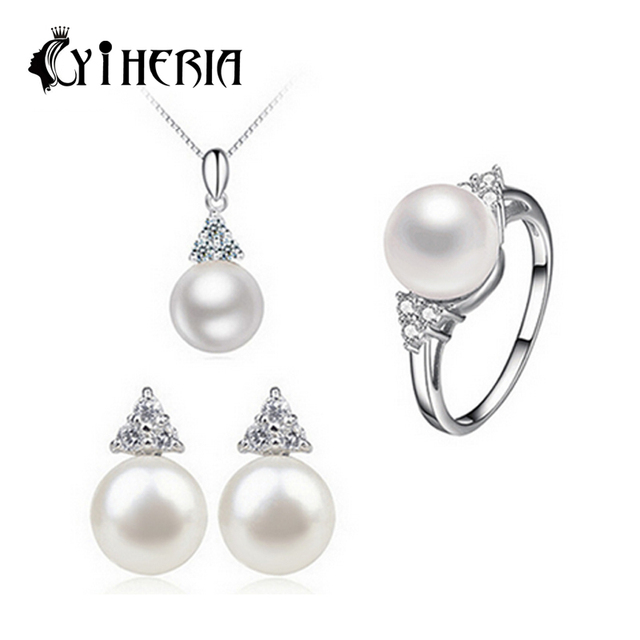 CYTHERIA 100% natural Pearl set, jewelry sets 925 silver pearl pendant necklace and earrings for women with gift box