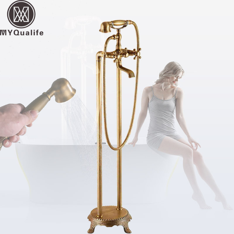 Antique Brass Dual Handle Bathroom Free Standing Tub Faucet Floor Mount Bathtub Mixer Taps with Handshower oil rubbed bronze waterfall tub mixer faucet free standing floor mount bathtub faucet with handshower