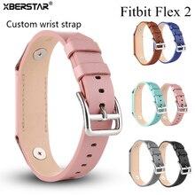 XBERSTAR Pulseira para Fitbit Flex 2 Cinta Rastreador De Fitness Genuínos Faixas de Relógio de Pulseira de Couro Correia De Pulso