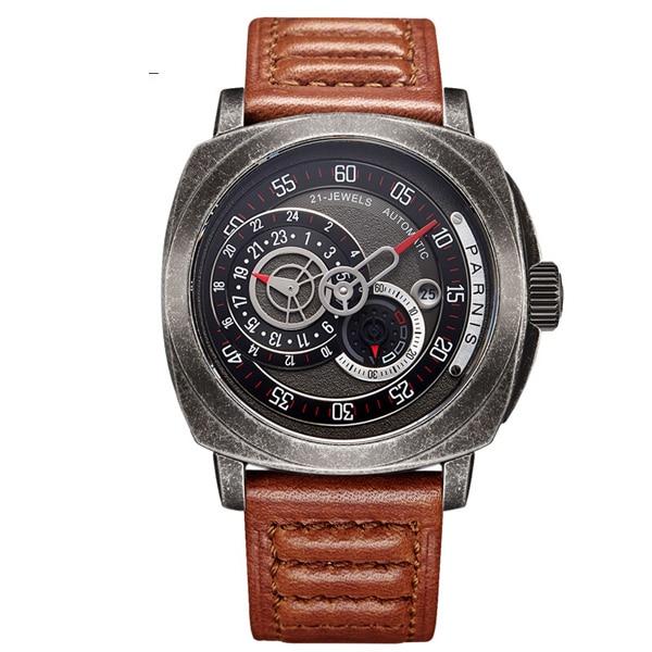 Parnis Commander Plus+ Seriers Luminous Mens Leather Watchband  Fashion Automatic Mechanical Watch Wristwatch parnis pilot iiv seriers luminous mens silicone leather watchband army sport chronograph quartz watch wristwatch