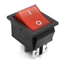 5 Pcsสีแดงโคมไฟ 4 ขาเปิด/ปิด 2 ตำแหน่งDPST Rocker Switch 16A/250V KCD4 201