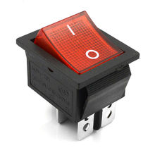 5  Pcs Red Lamp 4 Pin ON/OFF 2 Position DPST Rocker Switch 16A/250V KCD4 201