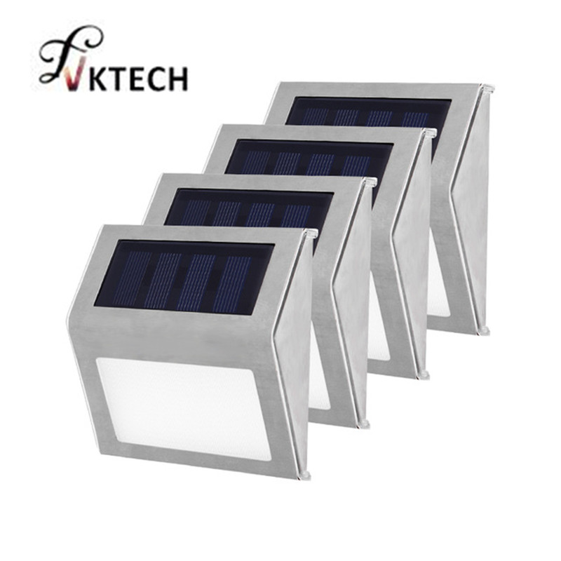 1-4pcs 3 LED Solar Light Stainless Steel Solar Power Garden Light Waterproof Outdoor Energy Saving Courtyard Garden LED Lamp