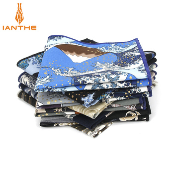 2018 Brand New Men's Suits Pocket Square Handkerchiefs Wave Cotton Flower Printed Hankies Casual Business Classic Pocket Hanky