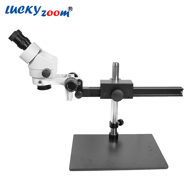 Luckyzoom Marque Professionnel 7X-45X SIMPLE BOOM Guide STAND 25 cm Distance de Travail Binoculaire Stéréo Zoom Microscope Le Plus Bas Prix