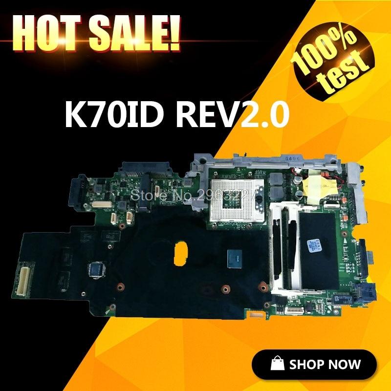 Original For ASUS K70ID Laptop Motherboard REV 2.0 100% Test Mainboard 90 days warranty for asus f5rl x50rl rev 2 0 laptop motherboard mainboard 08g2005fr20v 90days warranty