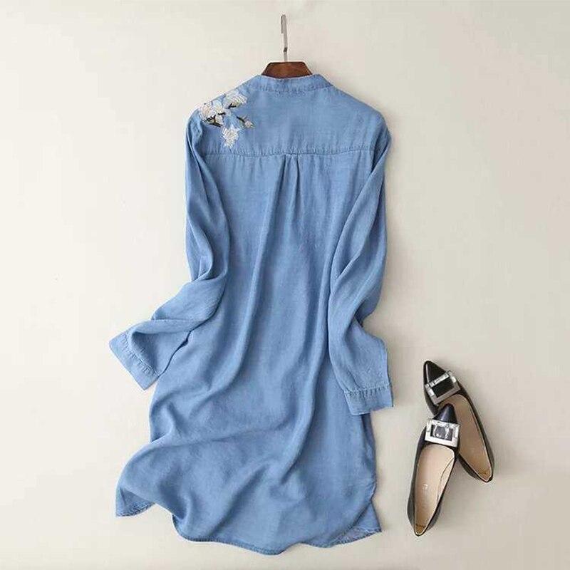 ea29abd1f6 2017 Women Summer Light Blue Denim Shirt Dress Stand Collar Long Sleeve High  Low lit Side Embroidery Casual Dress Plus Size