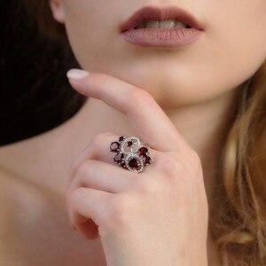 Image 2 - Ensemble de bijoux Vintage en grenat naturel, pierres précieuses en argent Sterling 925, ensemble de boucles doreilles et bagues pour femmes, bijoux fins