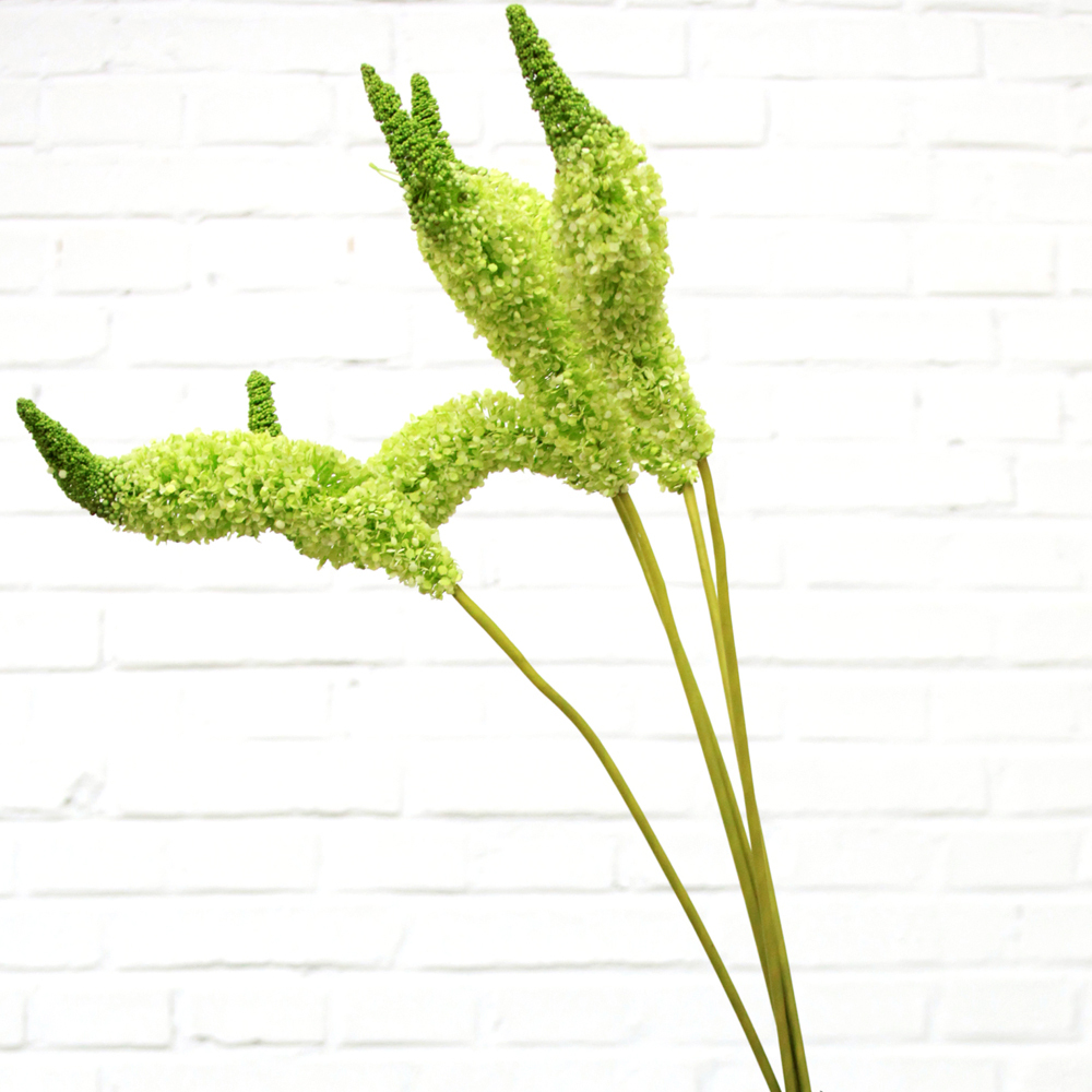 1pc Artificial Foxtail Lily Silk Flower Single Stem In Green