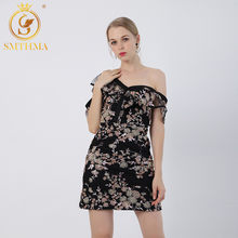 SMTHMA Self Portrait Dresses Female Sexy Off Shoulder Short Sleeve Dress High Waist Embroidered Sequins Summer Dresses(China)
