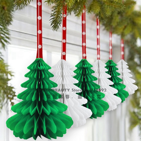 27cm 6pcs handmade honeycomb christmas trees tissue paper trees centerpiece table center for christmas decoration in pendant drop ornaments from home