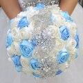 DIY брошь букет Шелковый Невесты Свадебный Свадебный Букет Невесты Синий Порошок и Ткани Цвета Слоновой Кости розы Настраиваемые diamond букеты