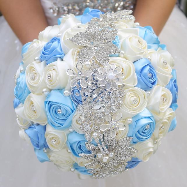 DIY Brooch Bouquet  Silk Bride Bridal Wedding Bouquet Bridesmaid Powder Blue & Ivory Fabric Roses Customizable Diamond Bouquets