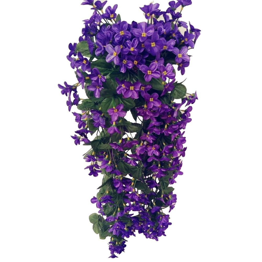 4 pétalos flor Artificial colgando flores violeta simulación boda de la vid decoración del hogar (Deep Purple)