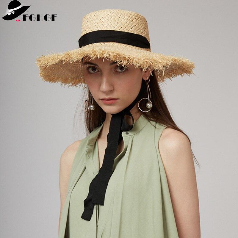 FGHGF de armadura rafia sol sombreros de ala del sombrero de playa de verano  blanco negro f1cae33fb72