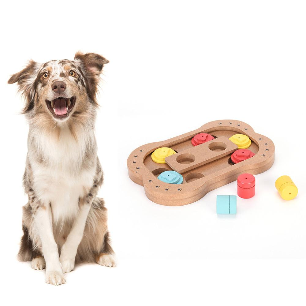 Hide N' Slide Treat Dispensing Dog Toy Brain and Exercise Game for Pet cat Food Bowl Paw Interactive IQ Training Toys FS Puzzle image