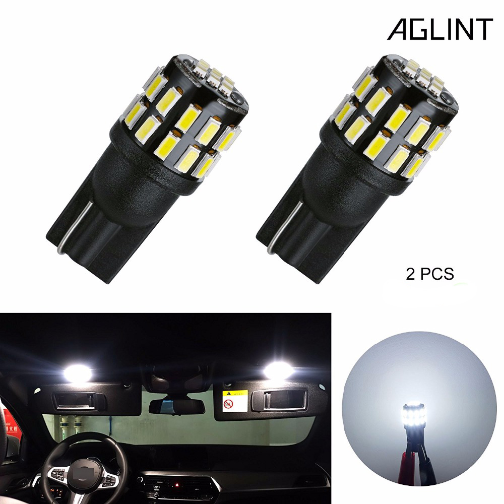 AGLINT 2PCS T10 LED Car Bulbs T10 194 168 2825 W5W 3014SMD 30-EX LED Use For Car Dome Reading Wedge Marker Lights White 12-24VAGLINT 2PCS T10 LED Car Bulbs T10 194 168 2825 W5W 3014SMD 30-EX LED Use For Car Dome Reading Wedge Marker Lights White 12-24V