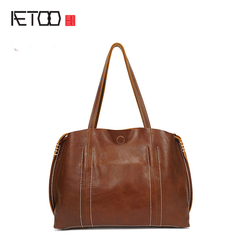 AETOO Leather handbag oil light leather British retro vertical section Messenger bag shoulder bag men fashion business package aetoo with leather handbag section briefcase men and women fashion personality business package canvas laptop bag 15 inch