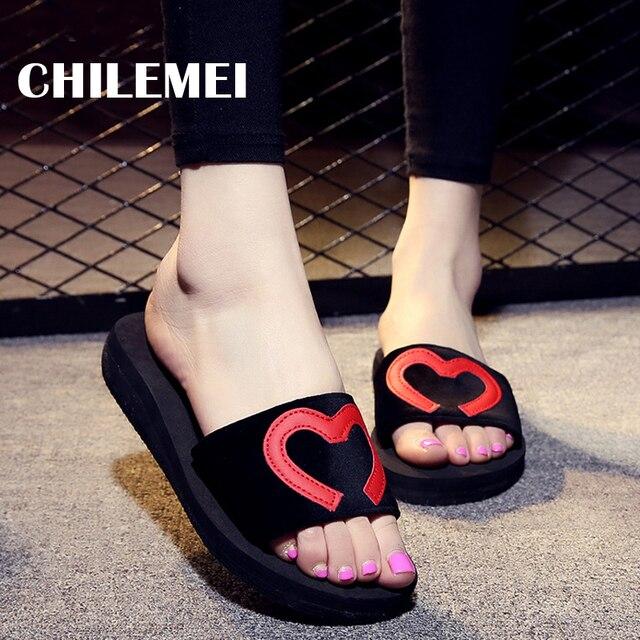 pour forme en femmes extérieures de pantoufles coeur Glissières 6Xd1T6