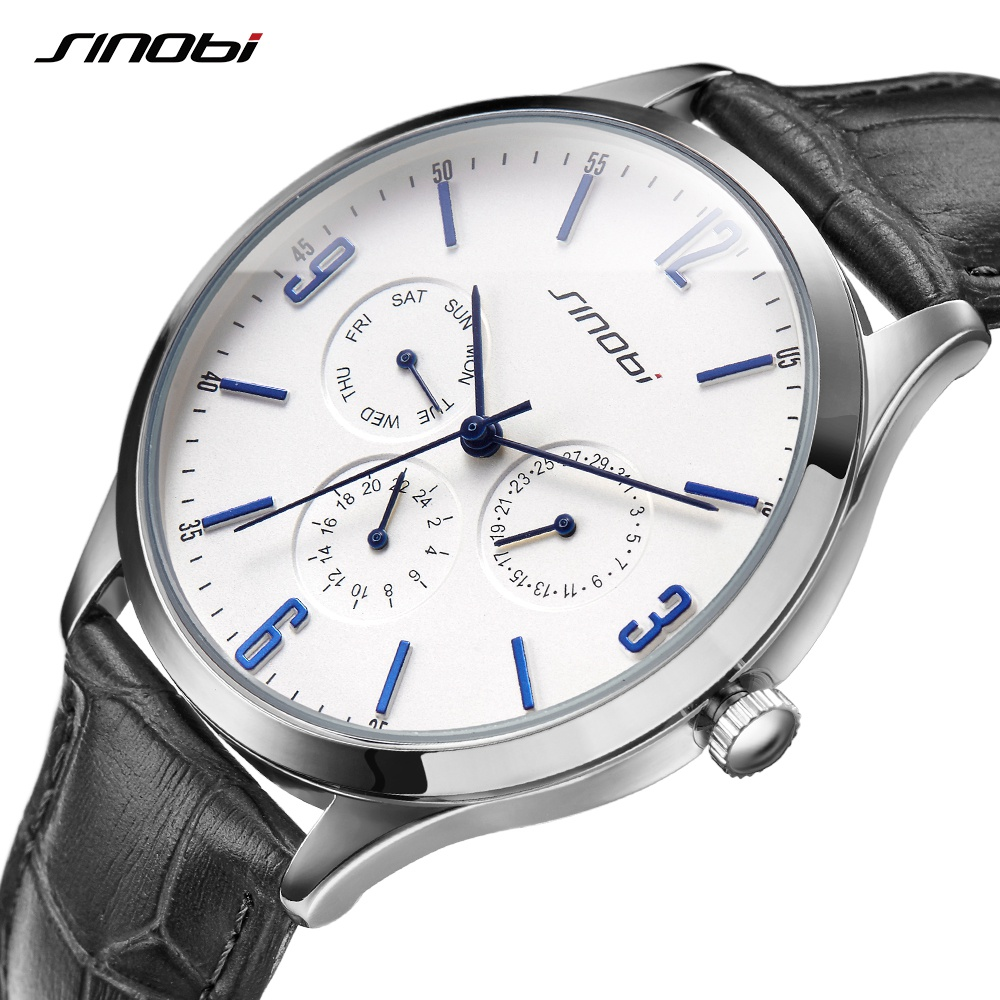 2018 New Arrival Men SINOBI Slim Point Quartz Watch Top Brand Watchband Sports Brown Leather Strap Wrist Watch Casual Masculino