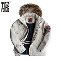 TIGER FORCE 2016 Fashion Men Padded Parka Brand Winter Polyester Coat Thick Parkas With Raccoon Fur Collar Free Shipping 7937F