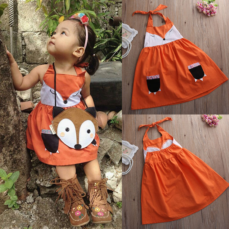 Dress Girl 2016 New Children Kids Baby Girls Cute Fox Dress Backless Minions Princess Party Orange Tutu Dress Girl Clothing 2-7Y girls dress winter 2016 new children clothing girls long sleeved dress 2 piece knitted dress kids tutu dress for girls costumes