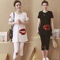 Большой размер Корейский Материнства летом 2016 новые Губы с коротким рукавом Футболки + опоры живот беременных женщин 7 брюки свободные платье костюм
