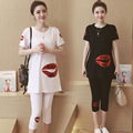 Large size Korean Maternity summer 2016 new Lips short-sleeved T-shirt + prop belly pregnant women 7 pants loose dress suit