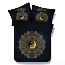 6 Parts Per Set Bed Sheet Set Stunning Yin and Yang Mandala on Starry Night sky  3d Bed Set