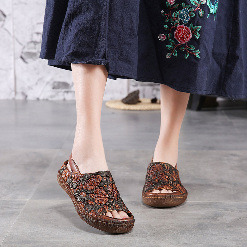 Embossed Flower Sandals Shoes Lady 2019 Natural Leather Peep Toe Women Sandale Handmade Elastic Band Casual Female Shoes