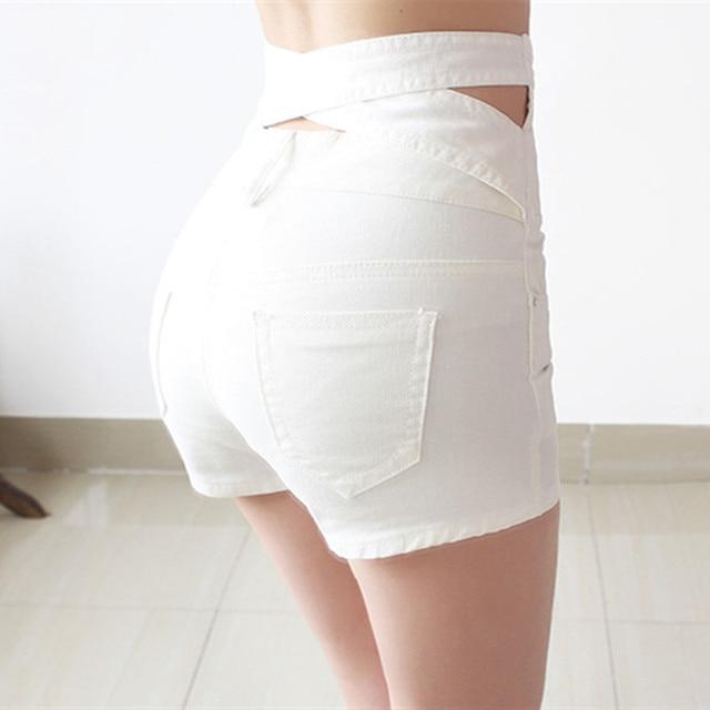 Hollow Out Black Skinny High Waist Shorts 2017 Summer New Women White Slim Sexy Denim Shorts Black Short Jeans feminino 4