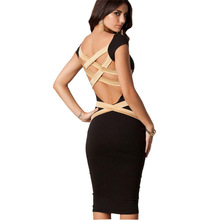 Women New Sexy Back Hollow Elastic Bandage font b Dress b font Bodycon Club font b
