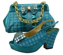 GF26 frauen Schuhe und Tasche Set grün runde Kappe Strass, Abendgesellschaft Kleid Schuhe mit passenden größe 38-42.